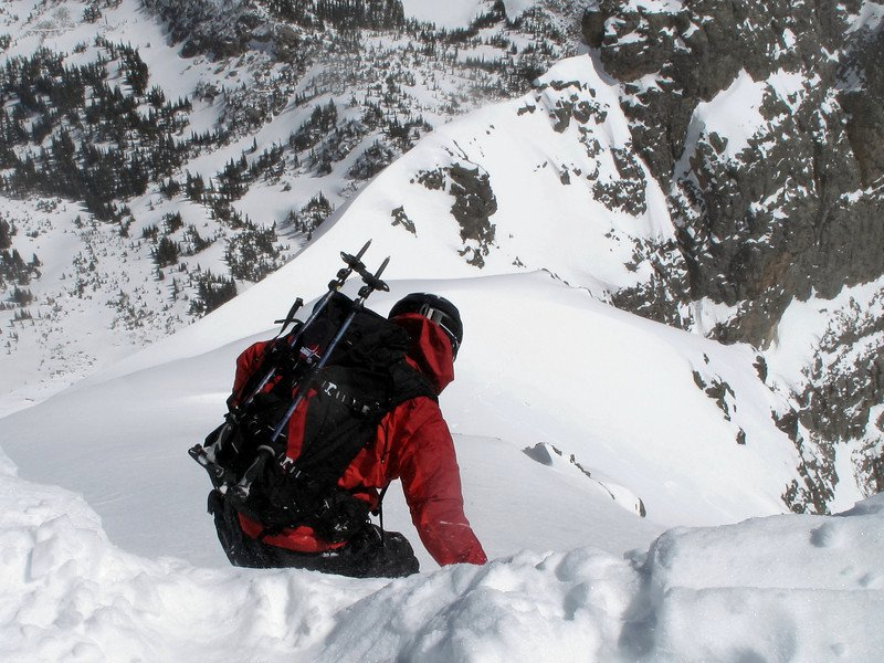 Dropping into the Spire Couloir