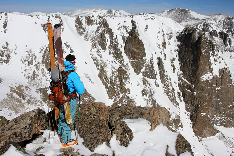Admiring the Spire Couloir