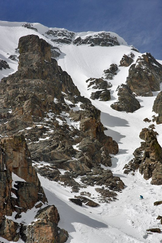 Exiting the Spire Couloir