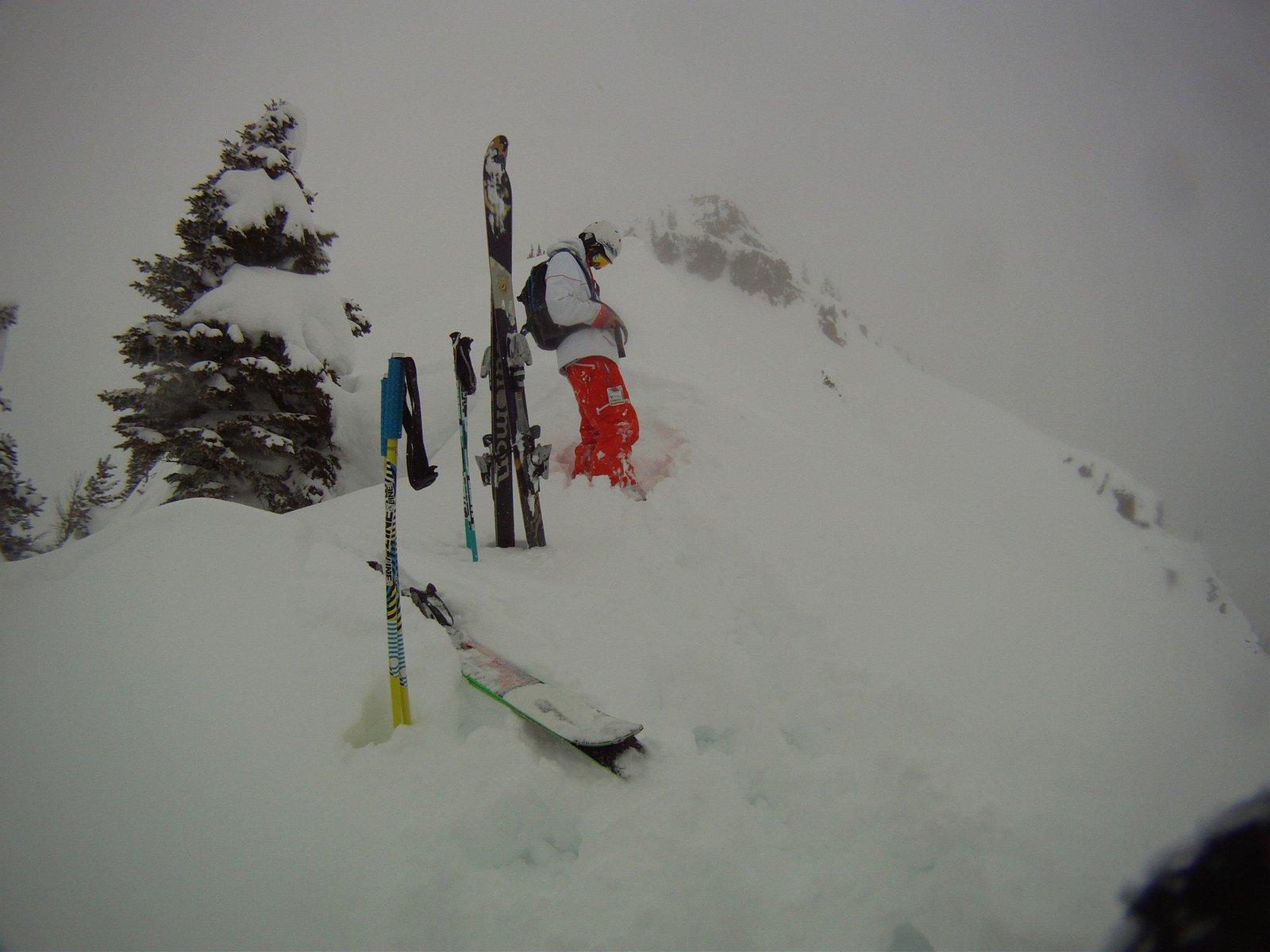 Skiin pow after long hike