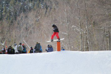 Snowboarding at loon for a comp.