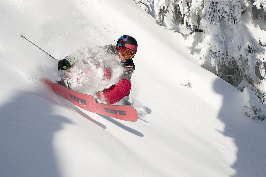 Kathryn Hayes rippin Montana Backcountry BOONE skis