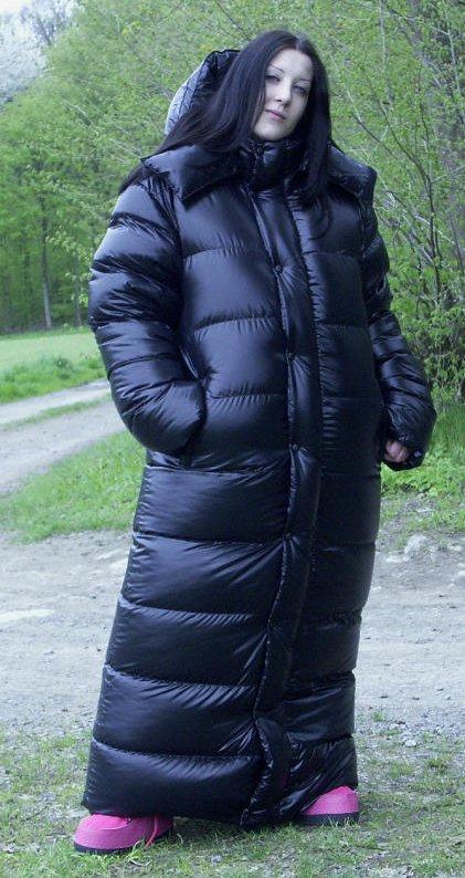 Foor length down coat