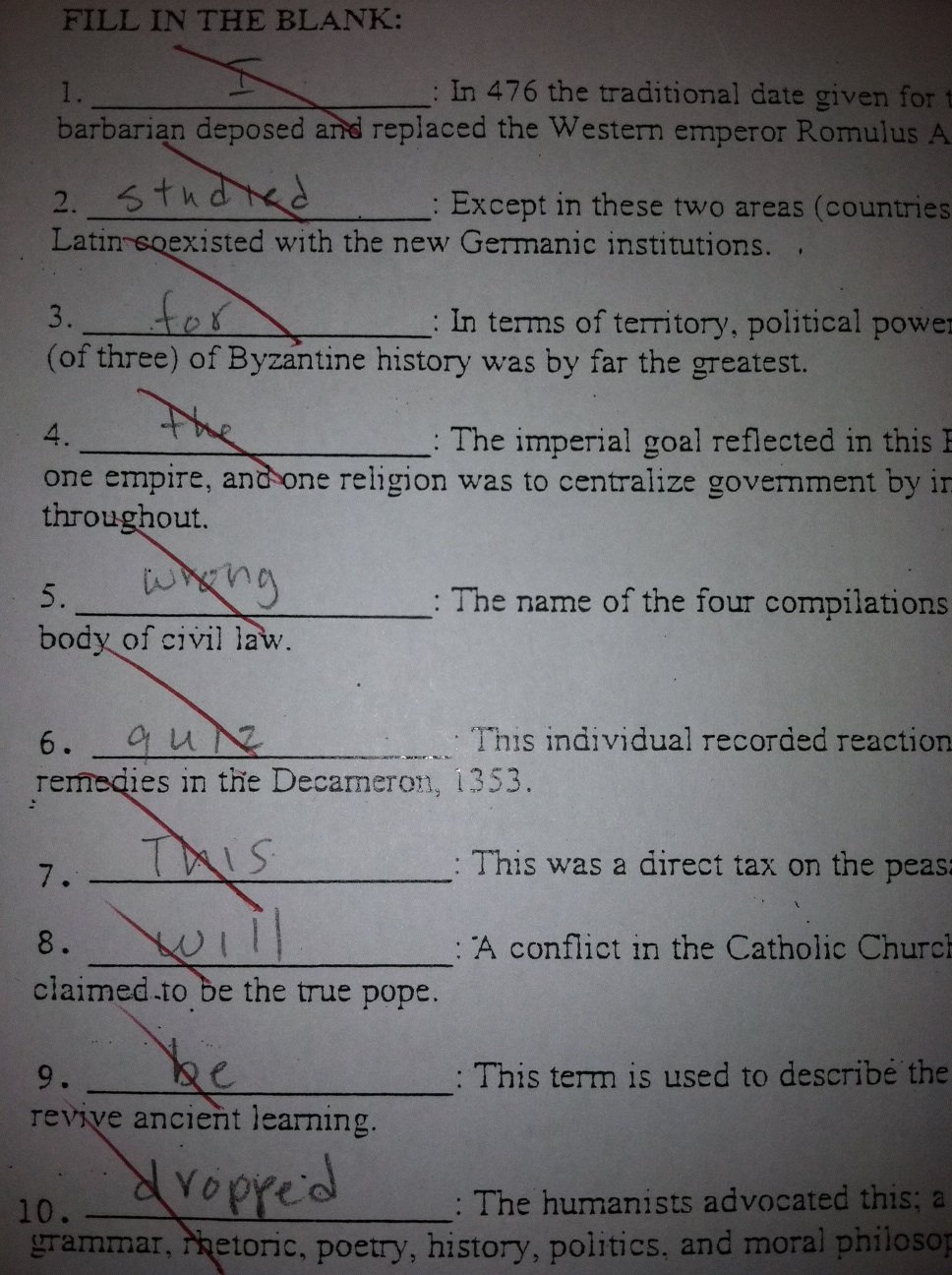 Quiz drop