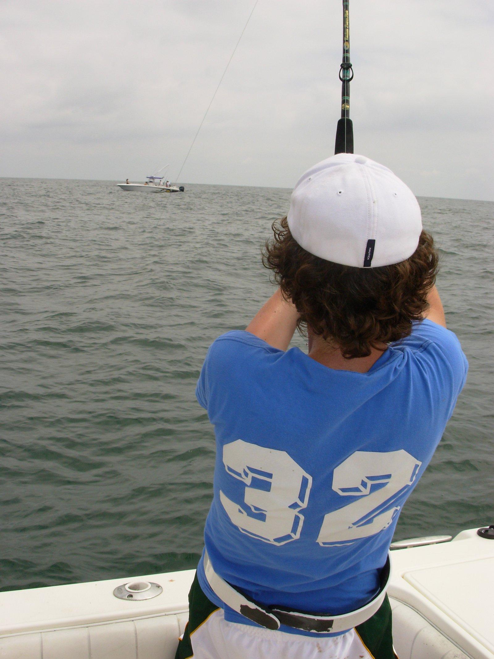 Pulling in a 350 lb Tiger shark
