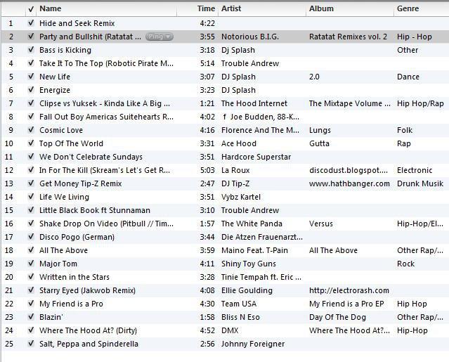 Song list for thread.