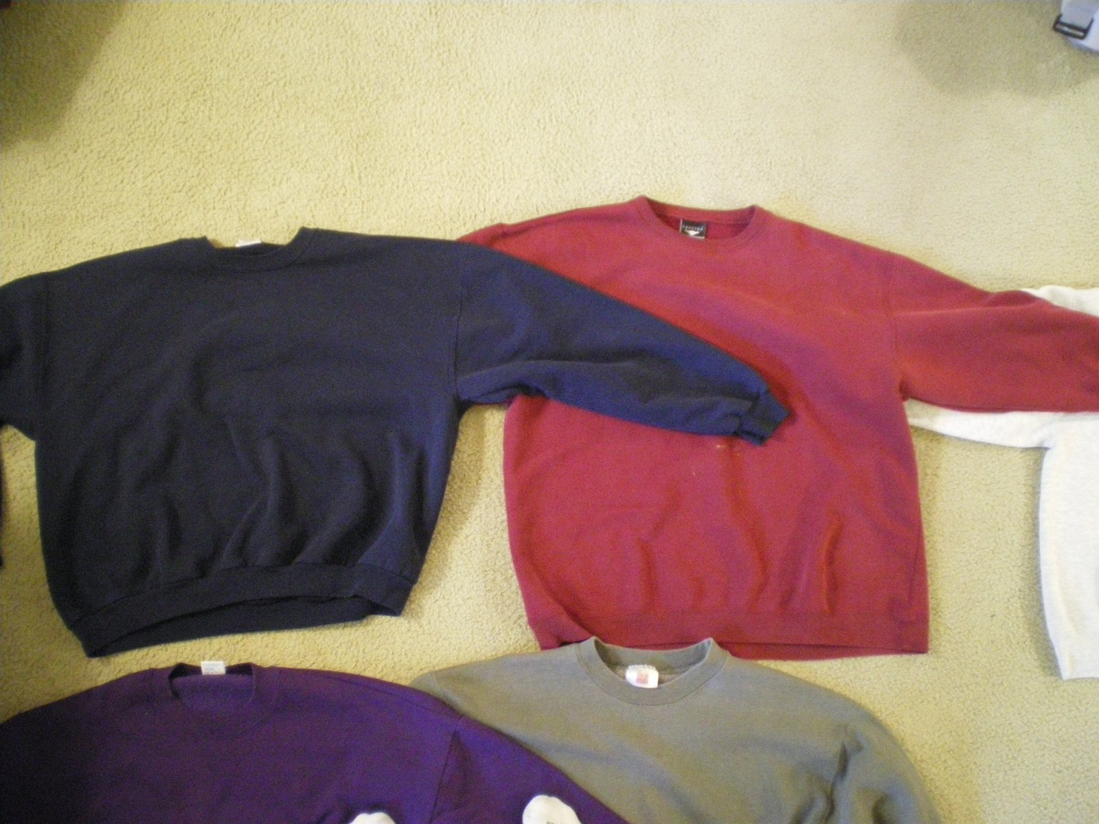 Navy and red crewnecks