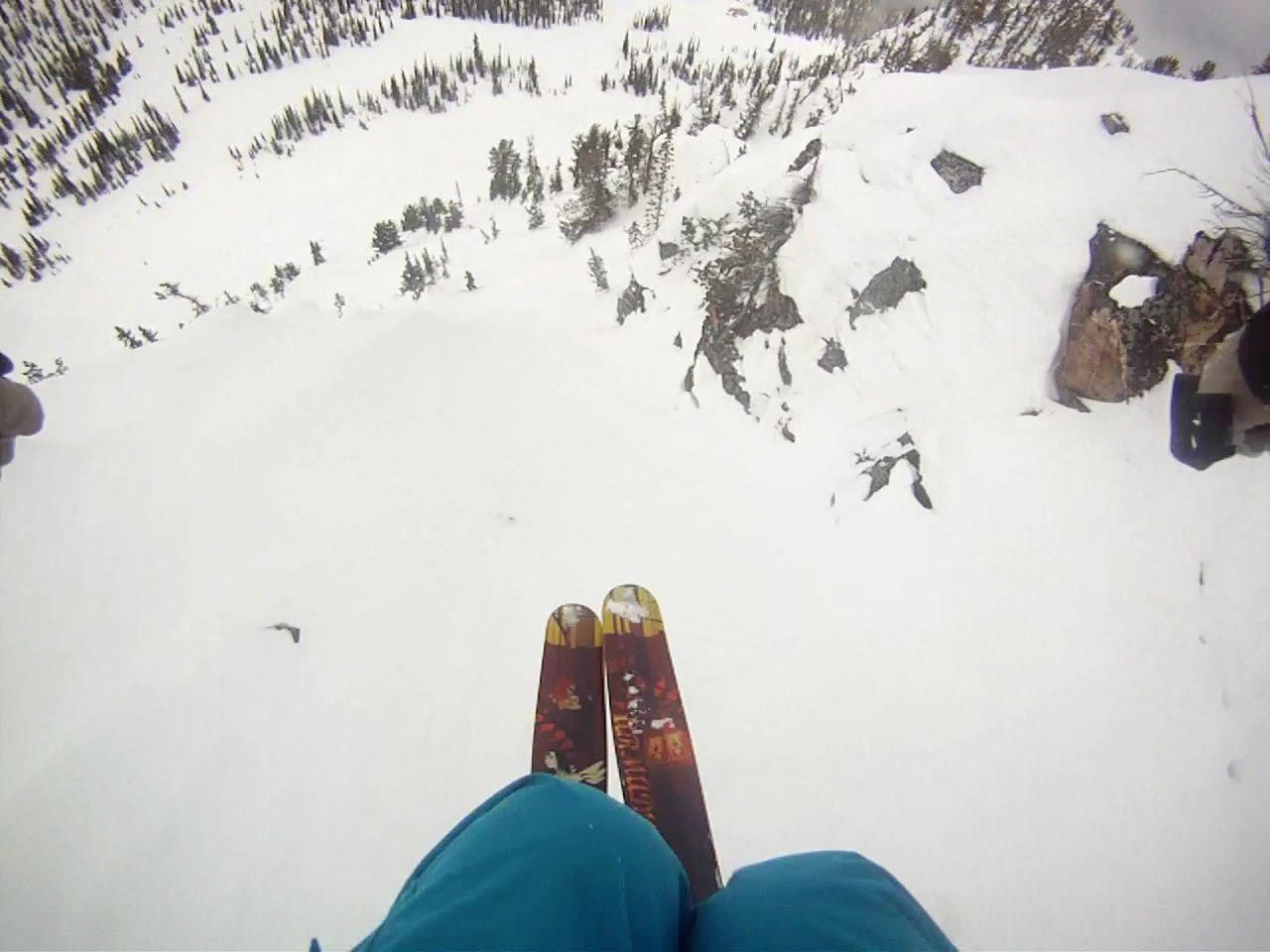 Kicking horse, big cliff to narrow chute