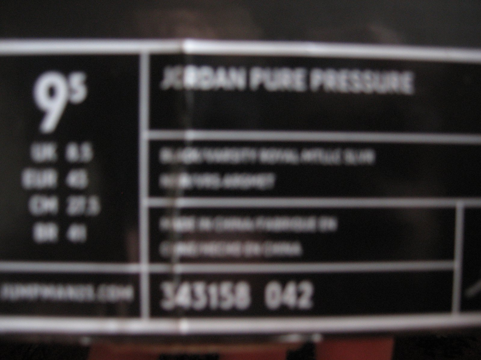 Jordan pure pressure label