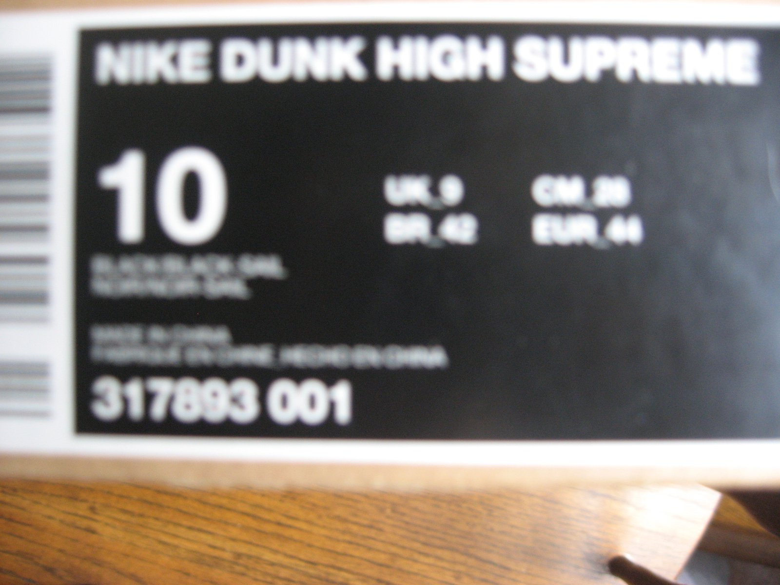 Nike zoom dunk hi supreme label