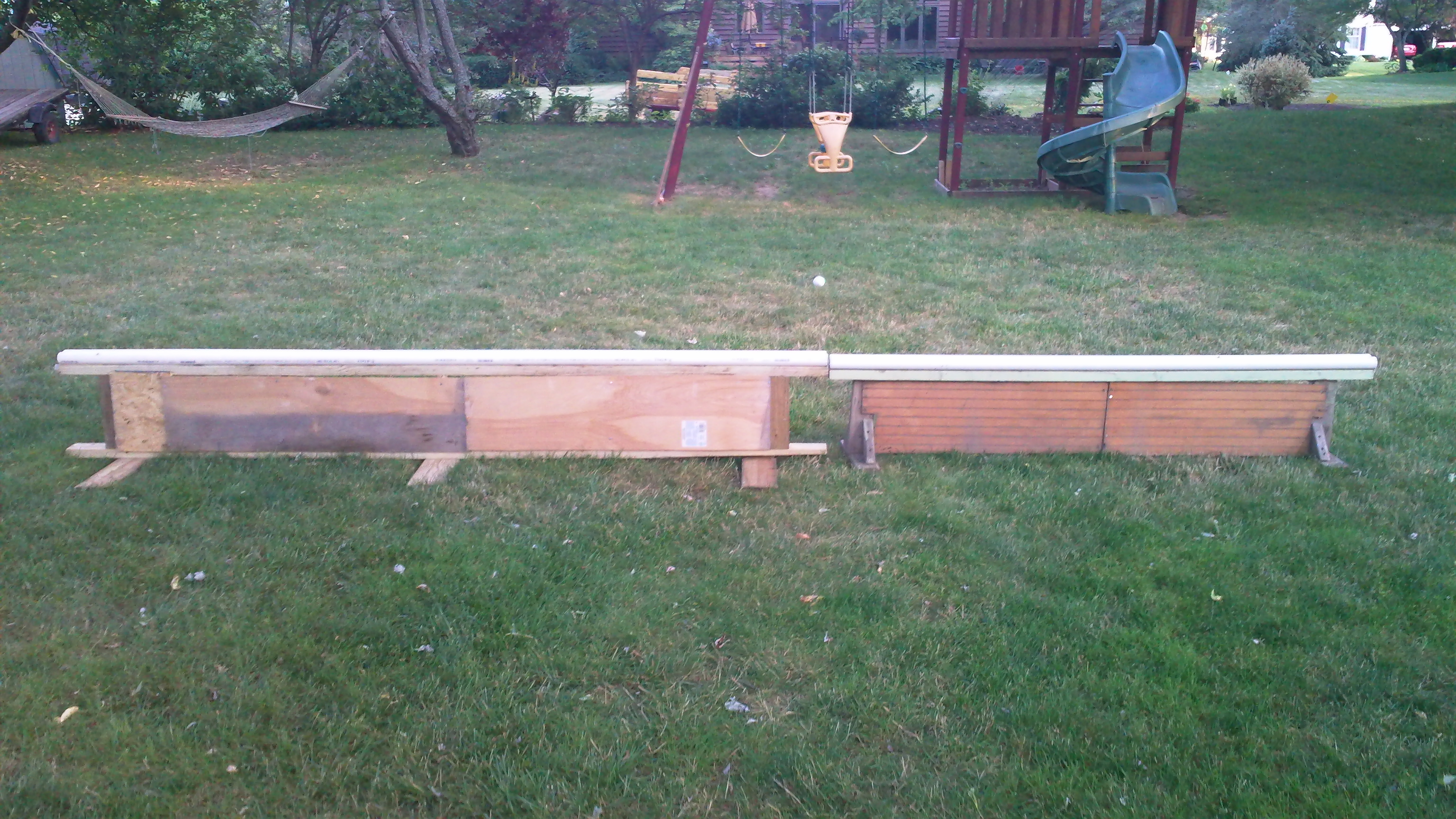 New 10' rail on left, old 7' rail on right