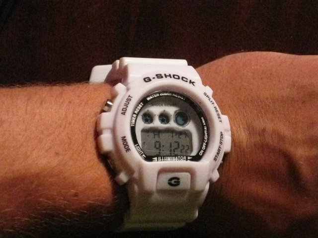White g-shock watch
