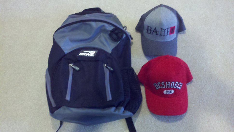 Backpack and hats