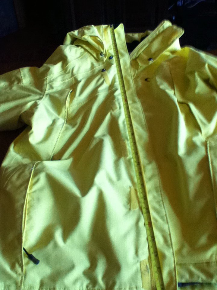 Coat with tape measurer on