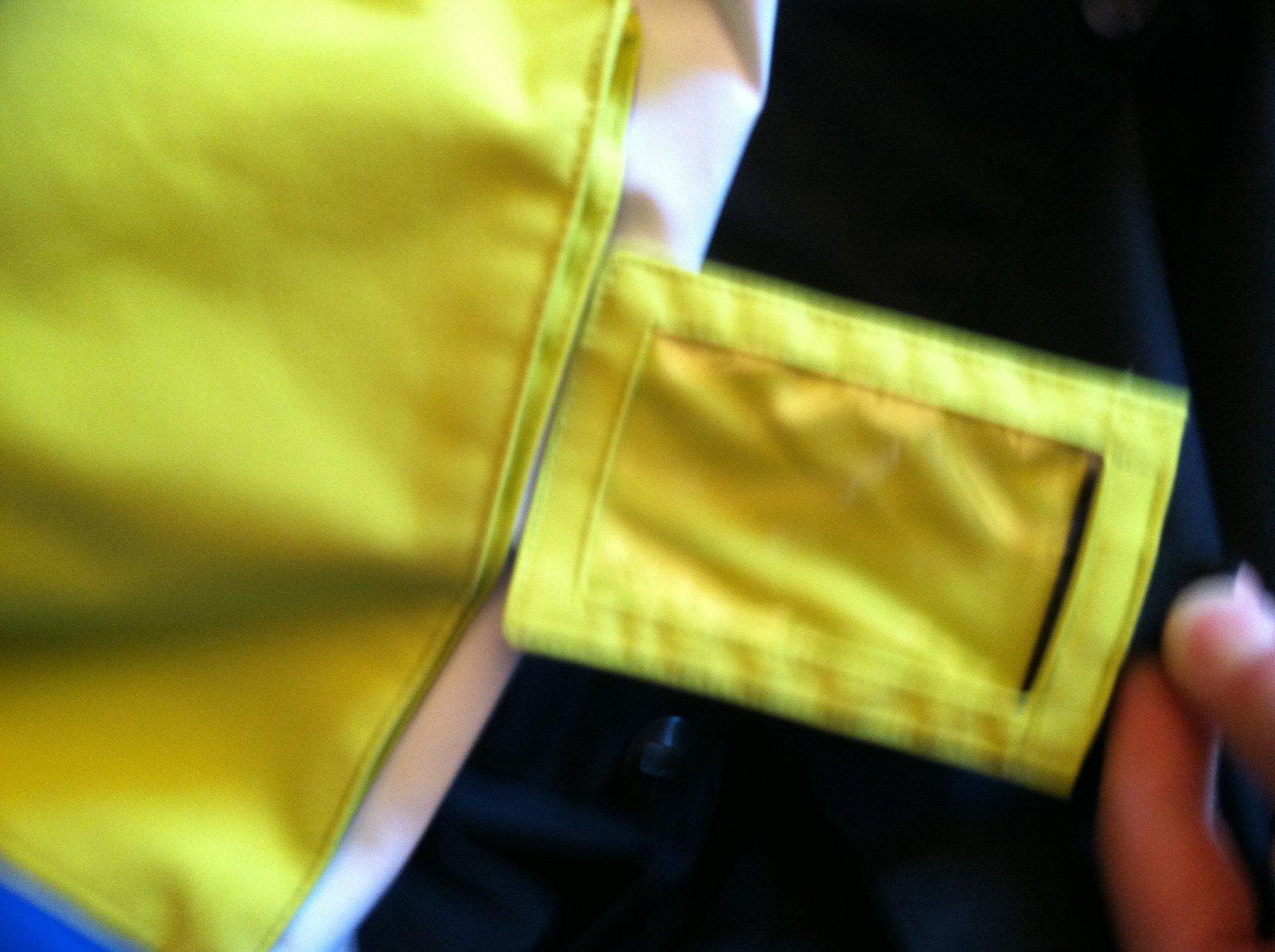 Hidden pass pocket ( on chest)