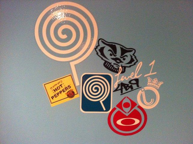 my sticker wall