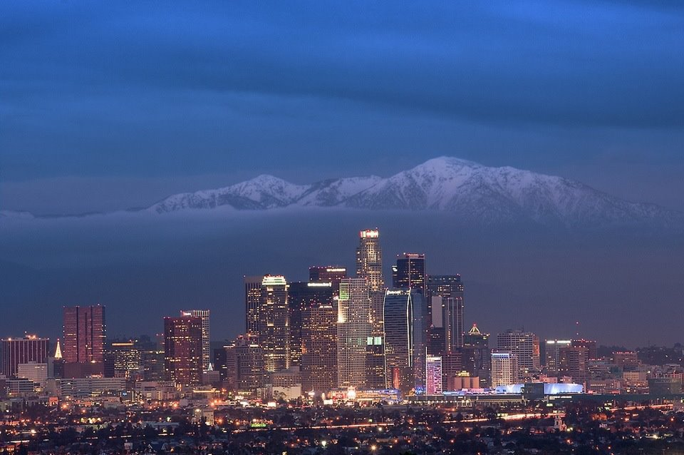 Downtown L.A. with Mt Baldy