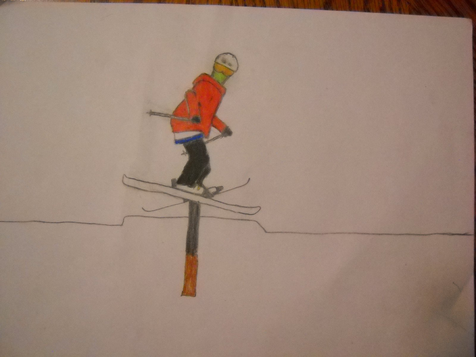 Ski drawing down rail