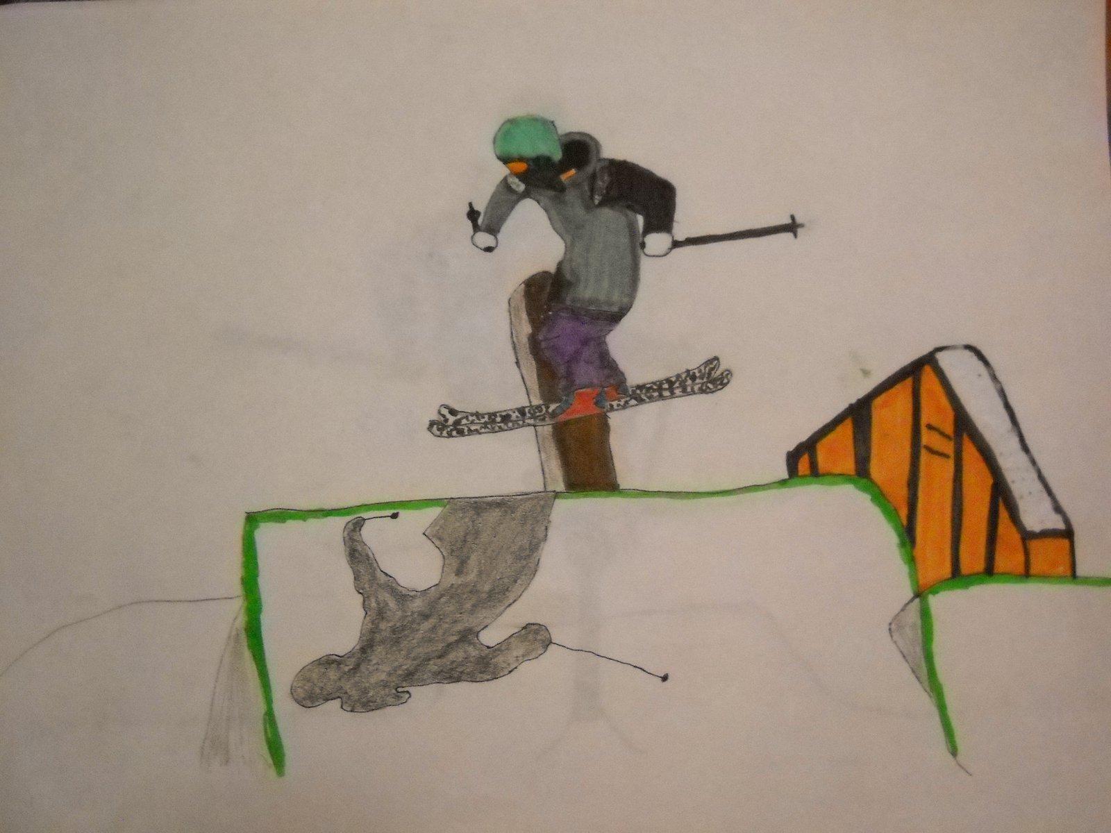 Ski drawing cannon rail