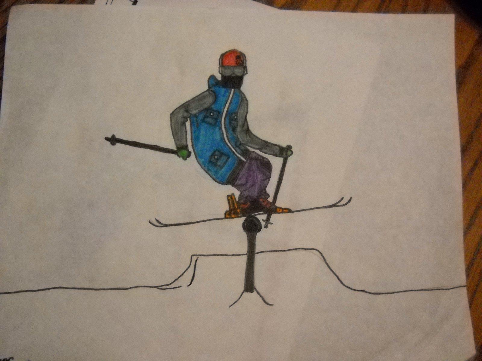 Ski drawing tail press