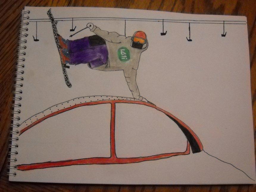 Ski drawing hand drag