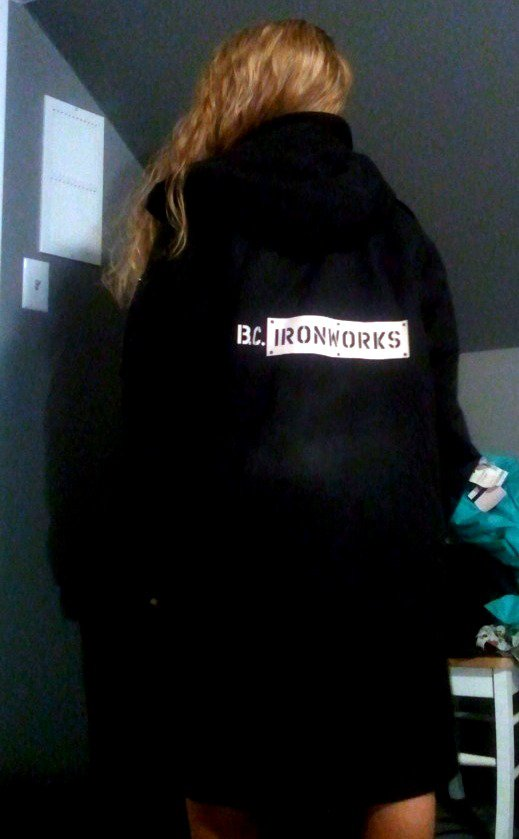 Back of jacket: BCIronworks<3