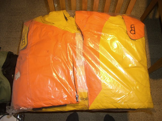First drop yellow and orange pants never worn in package