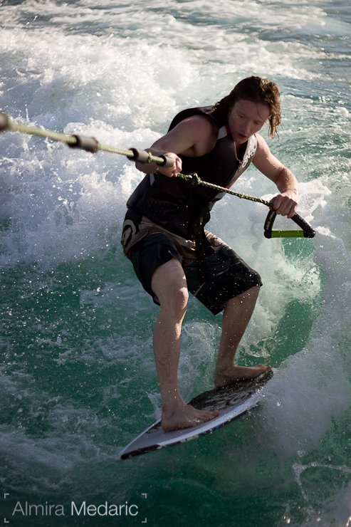 James Woods wakesurfing!