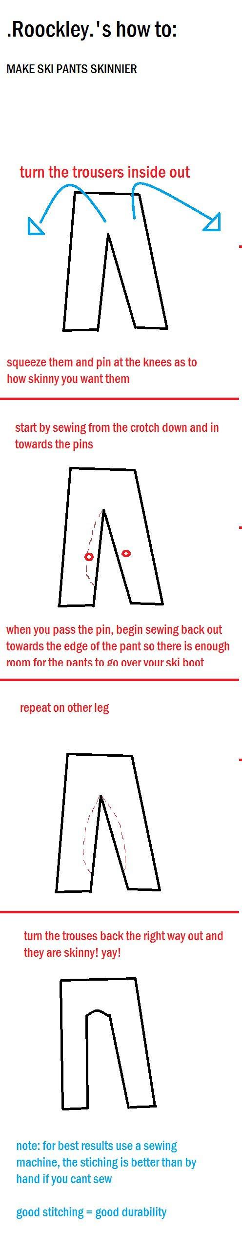 how to make ski pants skinnier