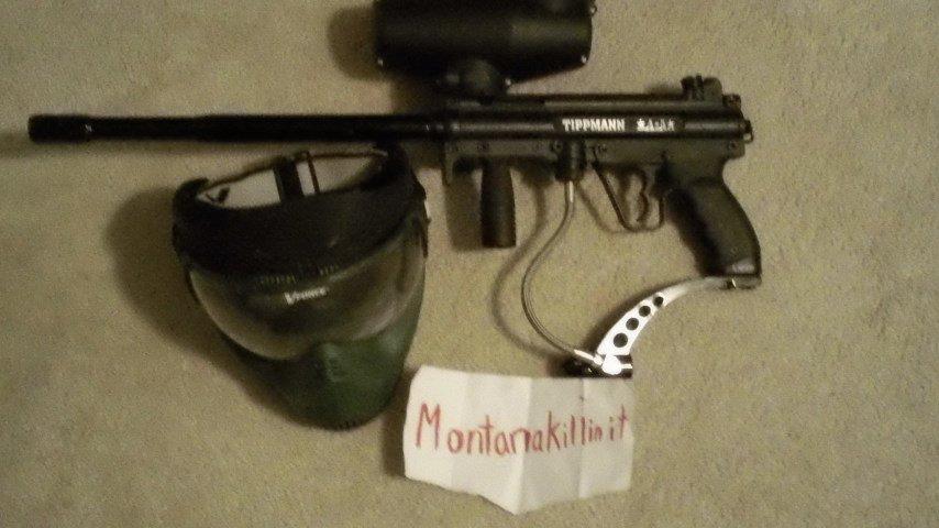 Tippman a5 paintball gun and mask