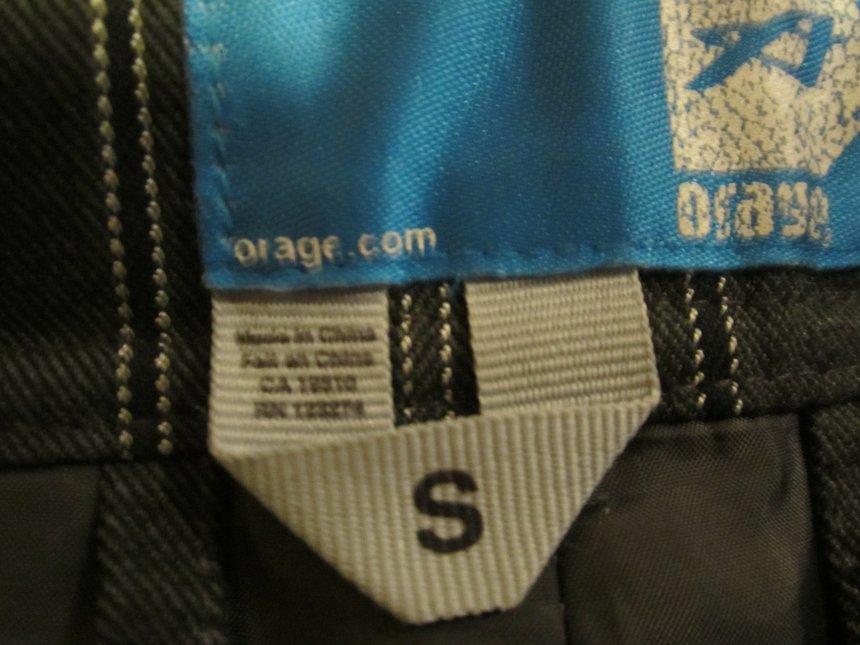 Orage pants size