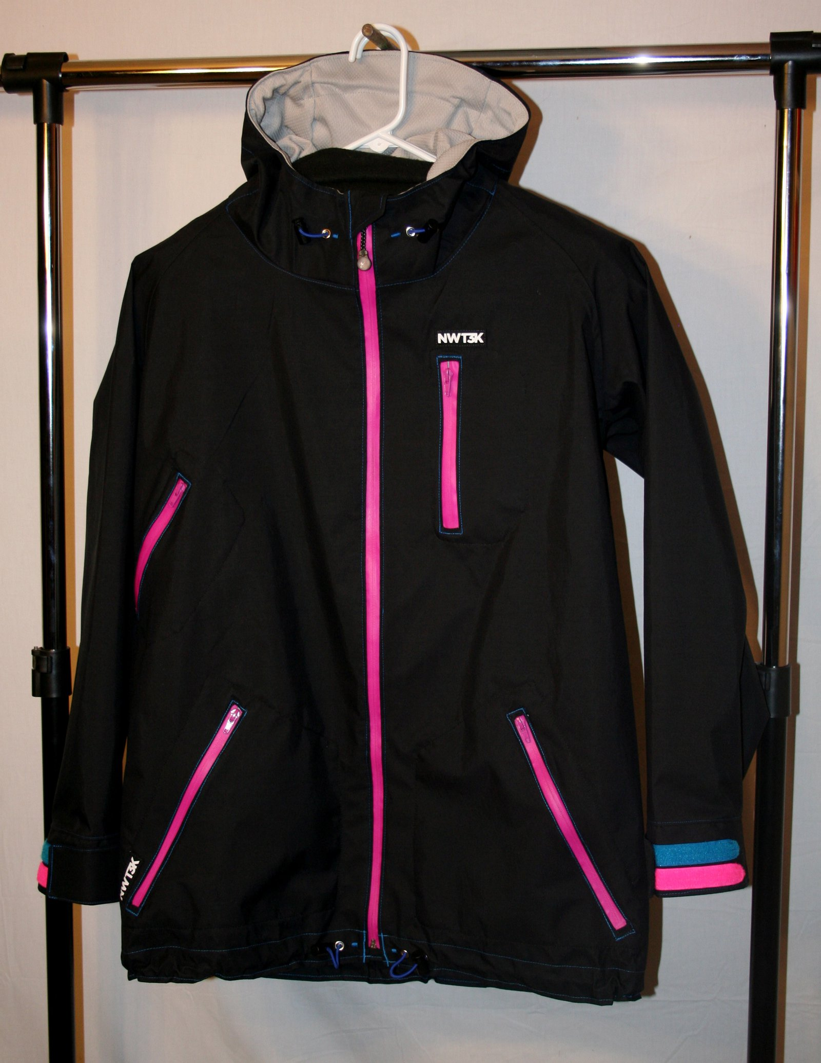 Black, pink zipper, pink & blue velcro