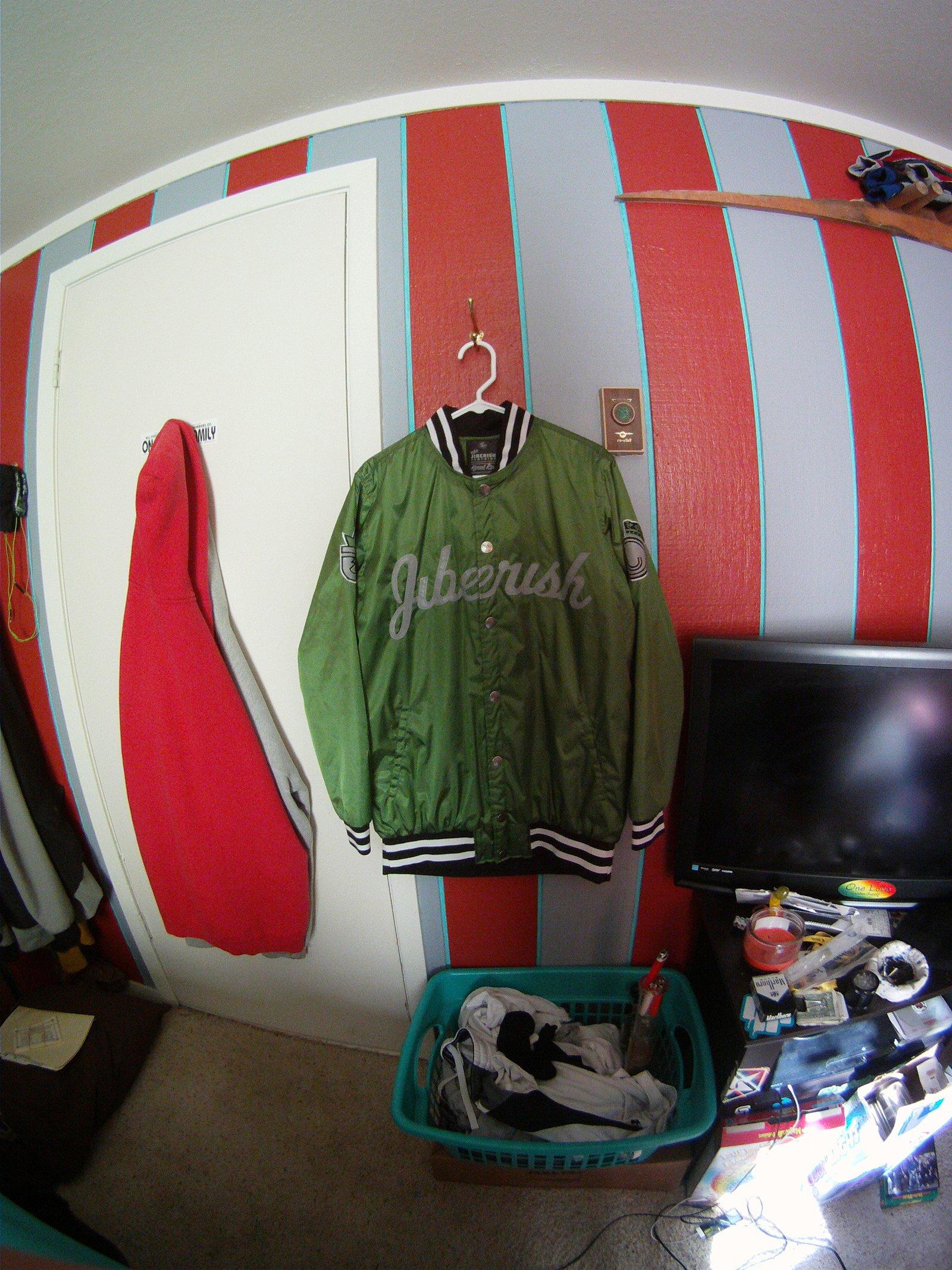 large green jiberish baseball jacket