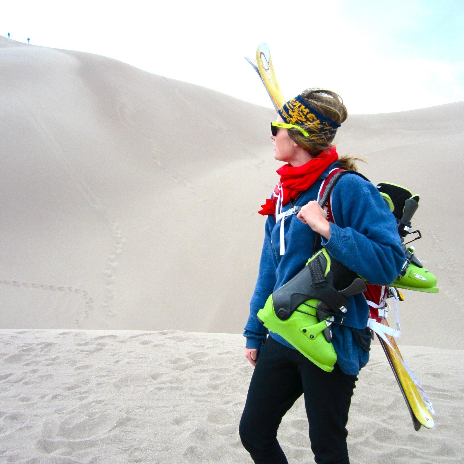 skiing on sand