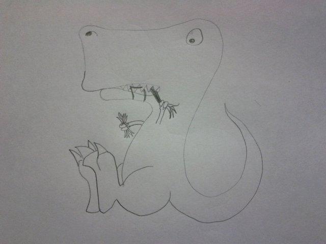 t-rex eating grass