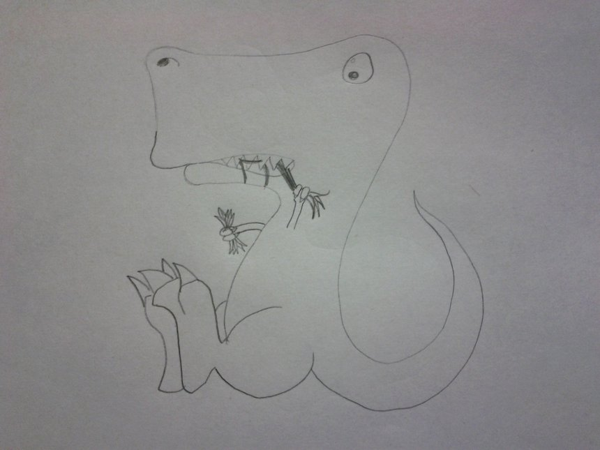 t-rex eating grass