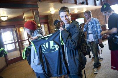5b0d98b68d10 Nicolas Vuignier shows off the Salomon Jib Academy Finals jersey.