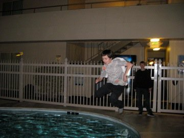 pool jump with clothes on