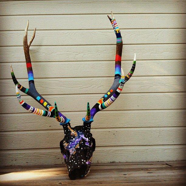 Large Elk Skull i painted