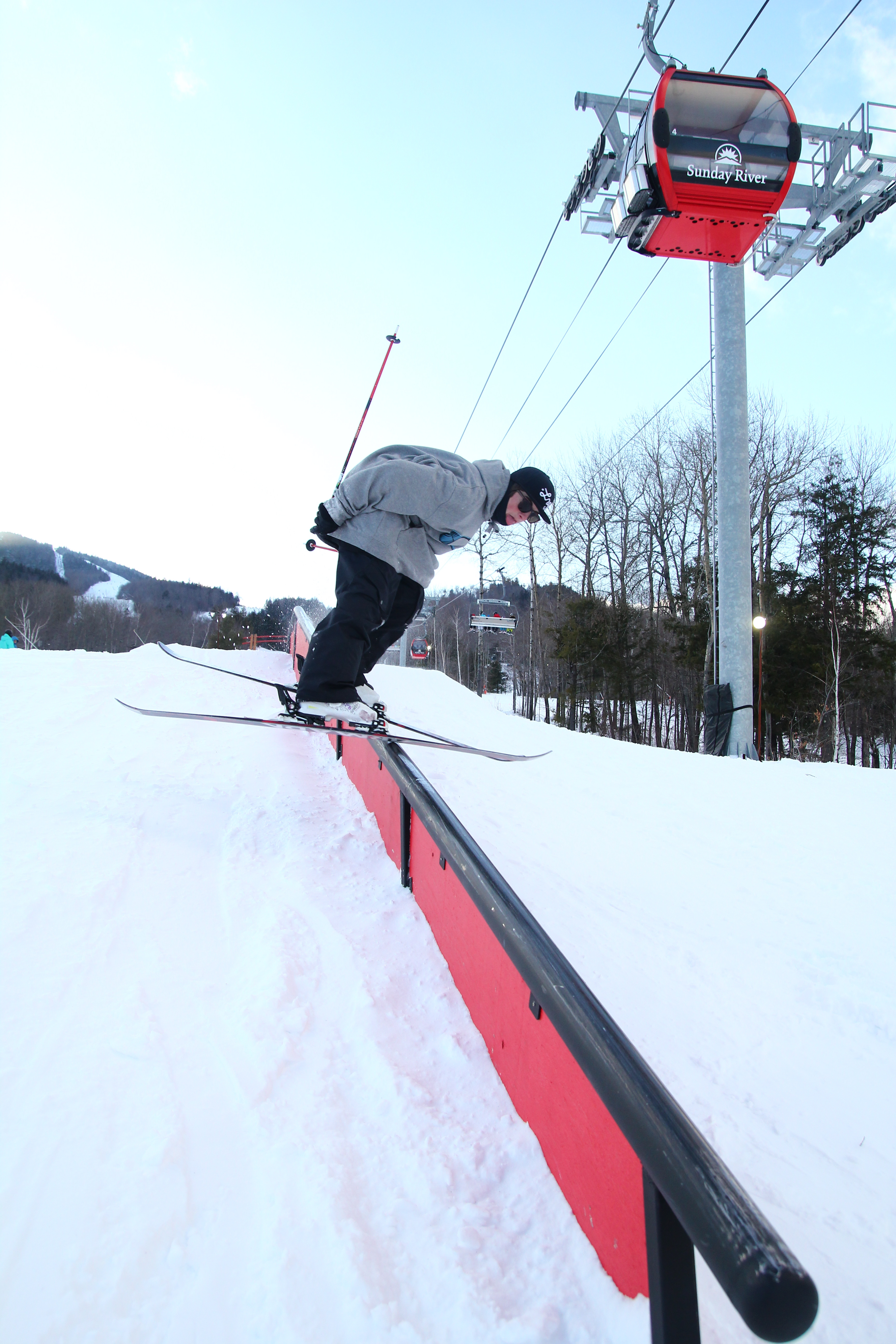 Nose pressing the handrail