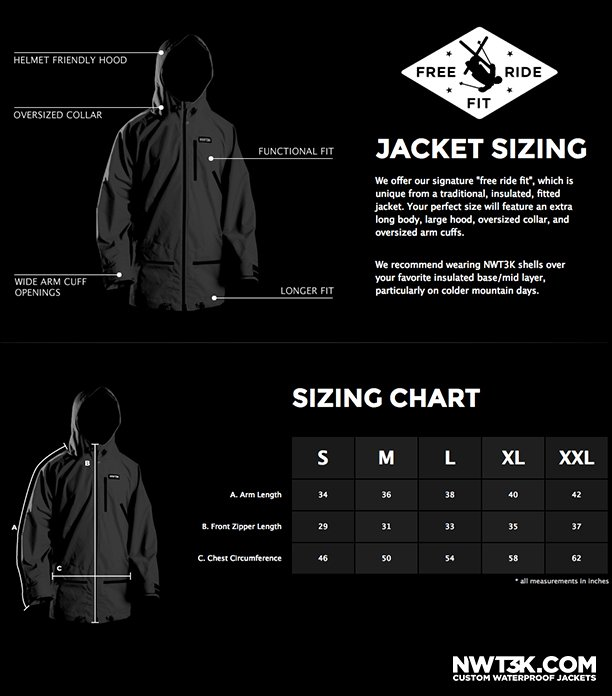 Jacket Sizing | NWT3K Custom Waterproof Jackets