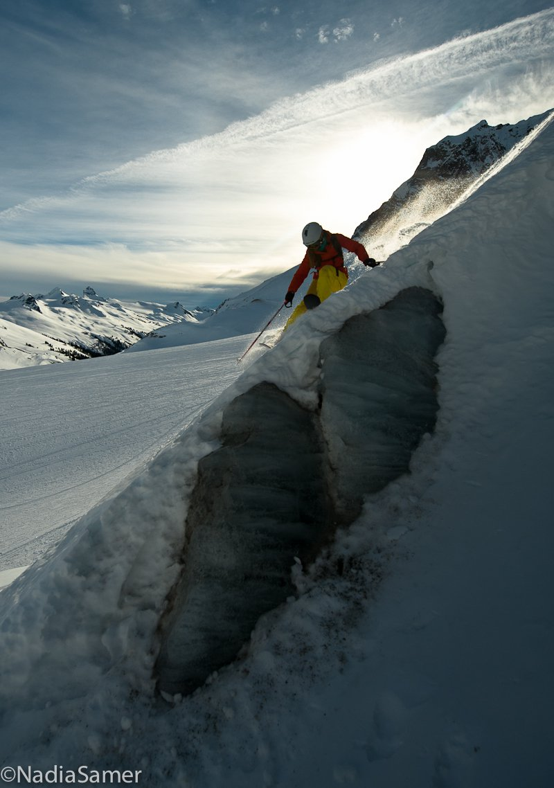 Mckenna skiing glacier ice falls