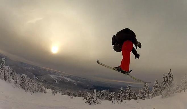 Skier attempts self-fellatio