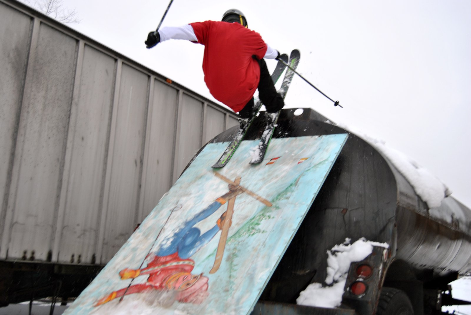 Skiing on a skier