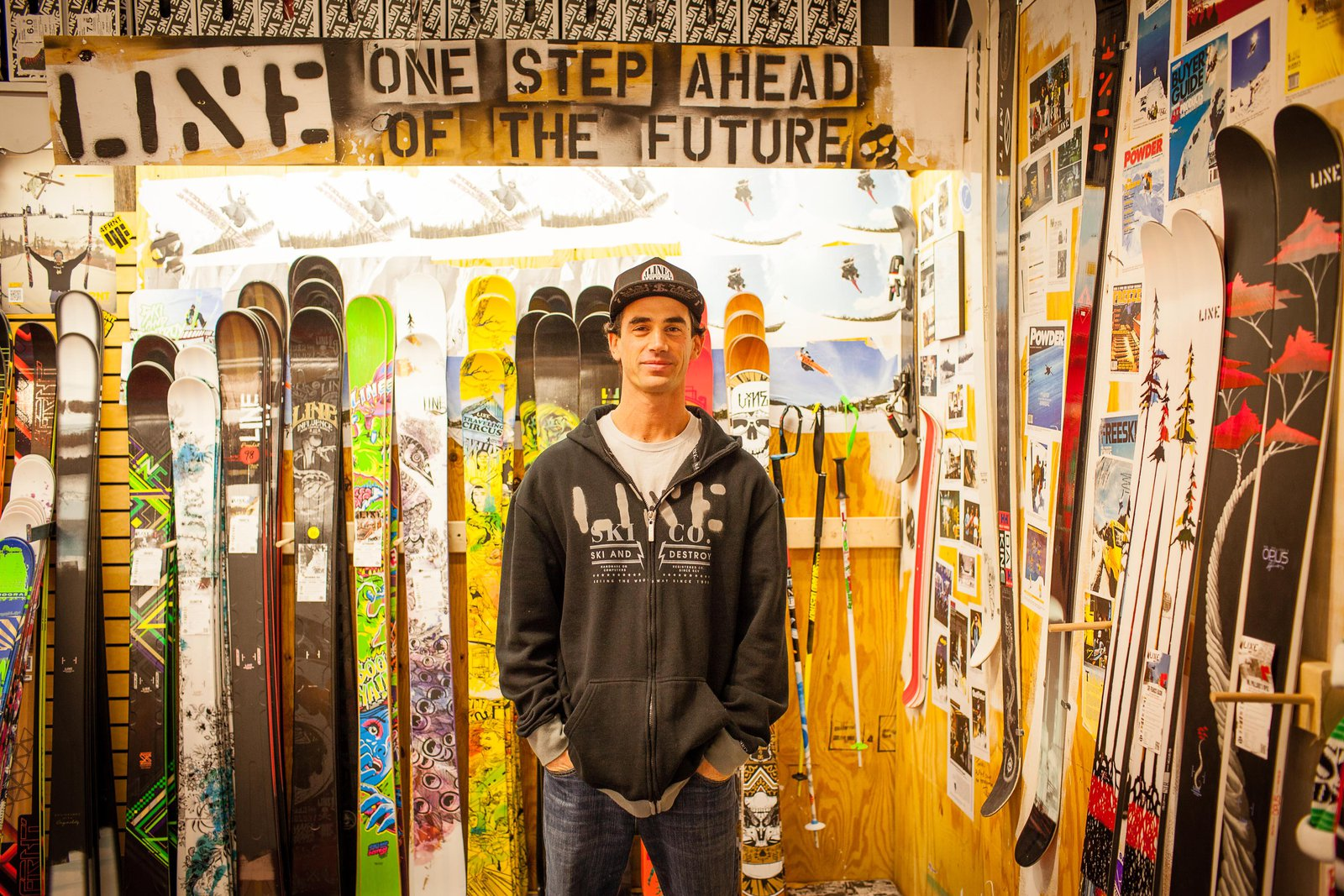 Jason Levinthal in front of Line skis