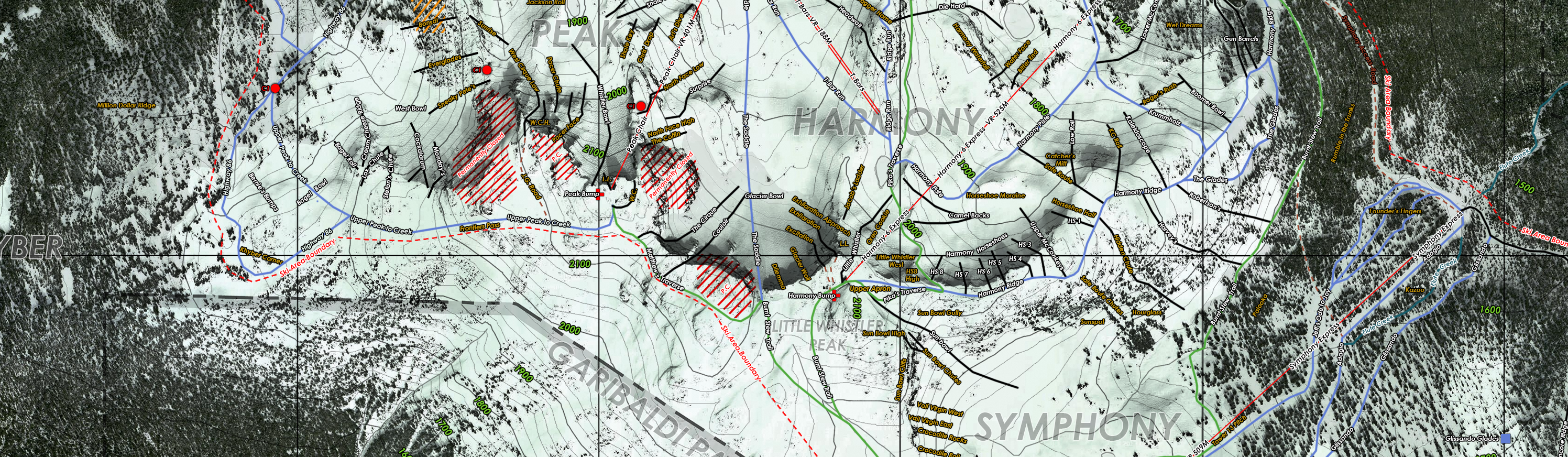 Whistler Topo/Satellite Run Map