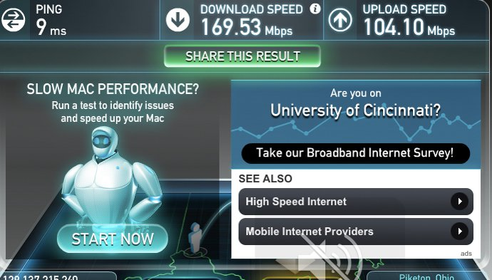 University of Cincinnati wifi