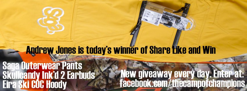Andrew Jones Wins Today's Share Like and Win Giveaway