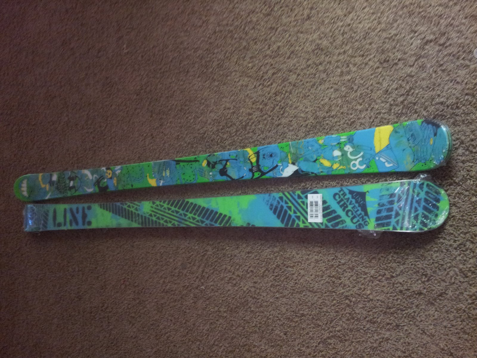 Two pairs of brand new 177 Traveling Circus Skis