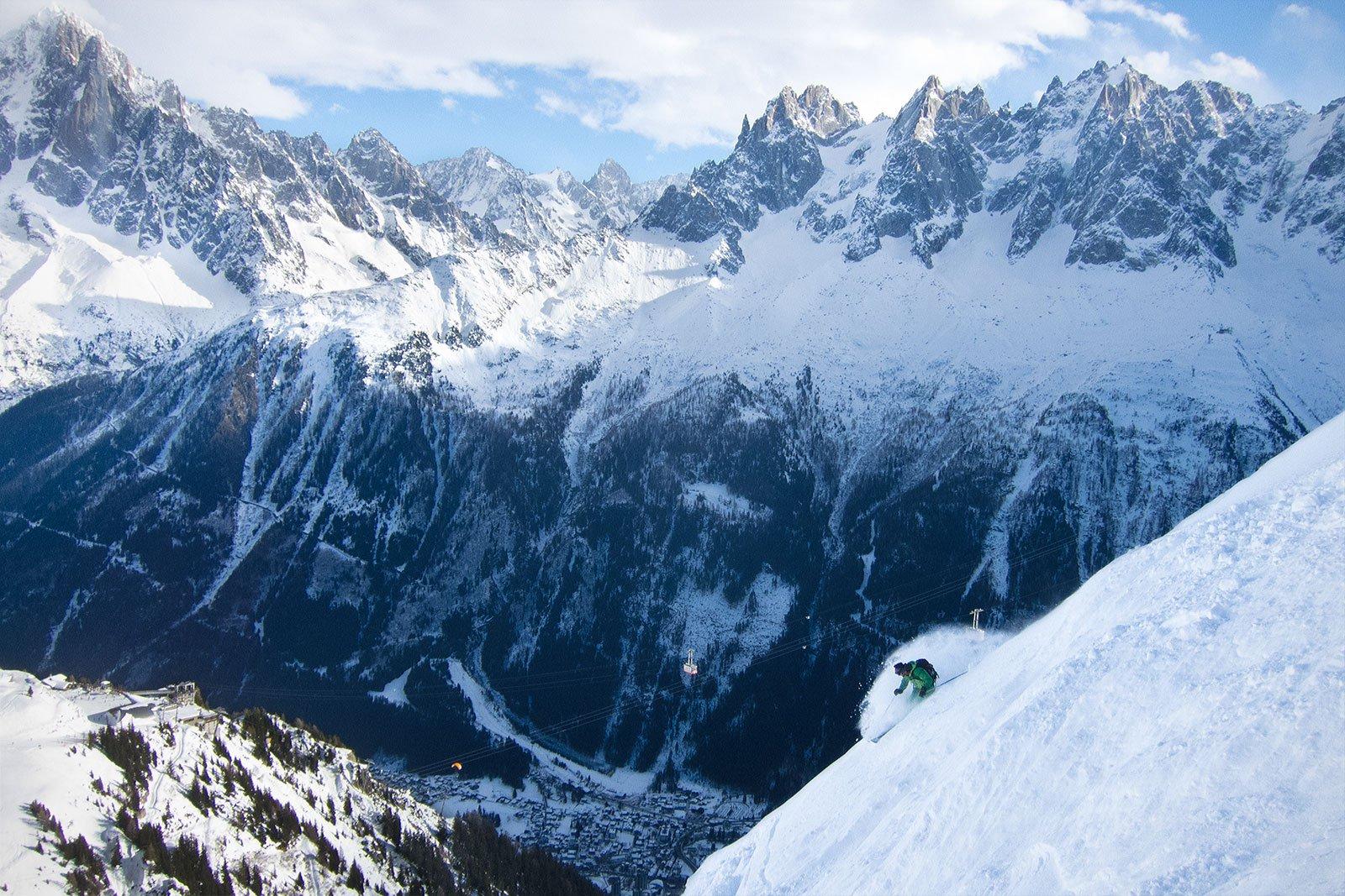 High above Chamonix